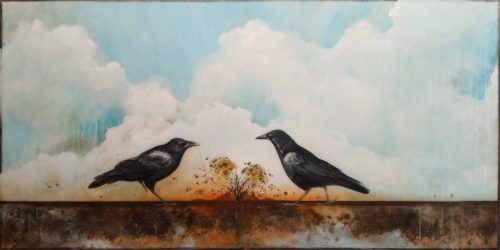 """SOLD """"Unravel,"""" by Nikol Haskova 30 x 60 - mixed media, high-gloss finish $5400 (unframed panel with thick edges)"""