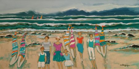 """""""The Weekend on the Beach,"""" by Claudette Castonguay 15 x 30 - acrylic $1100 Unframed"""