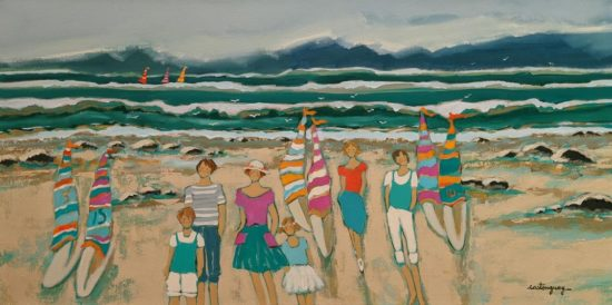 """The Weekend on the Beach,"" by Claudette Castonguay 15 x 30 - acrylic $1100 Unframed"