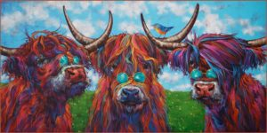 """SOLD """"Damn Hippies: Fringe Element,"""" (commission) by Angie Rees 20 x 40 - acrylic $2475 (unframed panel with 1 1/2"""" edges)"""