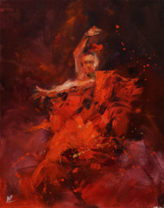 """SOLD """"Dancing with Life 2,"""" by William Liao 11 x 14 - oil $950 Unframed"""