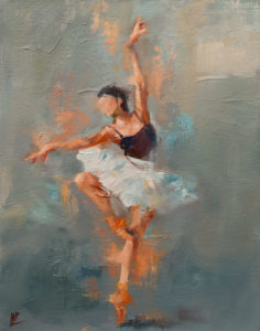 """SOLD """"Dancing with Life 3,"""" by William Liao 11 x 14 - oil $950 Unframed"""