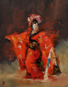 """SOLD """"Dancing with Life 5,"""" by William Liao 11 x 14 - oil $950 Unframed"""