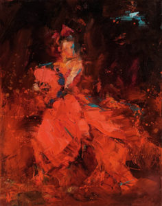 """SOLD """"Dancing with Life 7,"""" by William Liao 11 x 14 - oil $950 Unframed"""