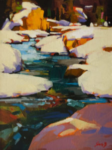 """Fall on the Kicking Horse River,"" by Mike Svob 9 x 12 – acrylic $835 Unframed"