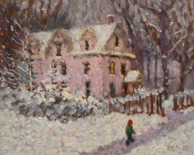 "SOLD ""House of the Lane,"" by Paul Healey 8 x 10 - oil $450 Unframed"