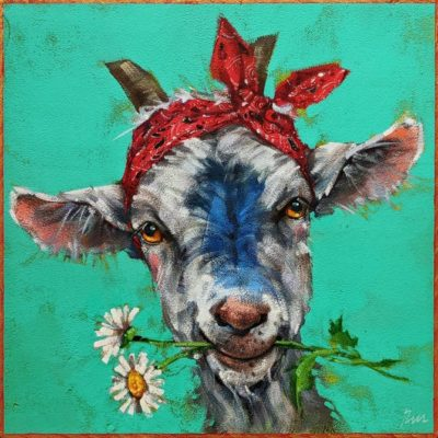 """""""A Little Weed Whacker,"""" by Angie Rees 10 x 10 - acrylic $675 (unframed panel with 1 1/2"""" edges)"""