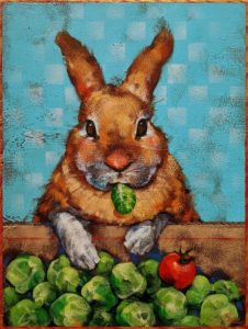 """SOLD """"Russel Loves a Brussel,"""" by Angie Rees 9 x 12 - acrylic $650 (unframed panel with 1 1/2"""" edges)"""