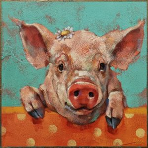 """SOLD """"Squeal Appeal,"""" by Angie Rees 8 x 8 - acrylic $425 (unframed panel with 1 1/2"""" edges)"""
