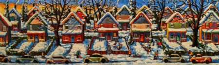 """Cookie Cutters,"" by Rod Charlesworth 12 x 40 - oil $2550 Unframed"