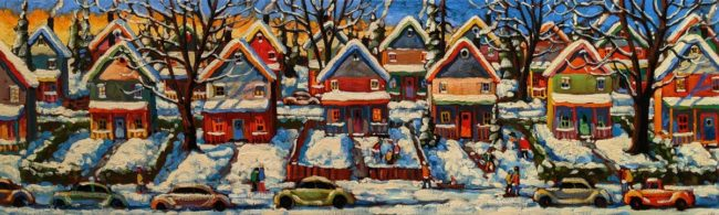 """SOLD """"Cookie Cutters,"""" by Rod Charlesworth 12 x 40 - oil $2550 Unframed"""
