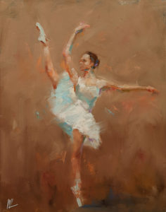 """SOLD """"Dancing with Life 6,"""" by William Liao 11 x 14 - oil $950 Unframed"""