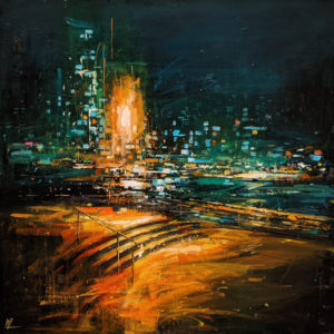 """""""False Creek at Night,"""" by William Liao 24 x 24 - acrylic $2200 (thick canvas wrap)"""
