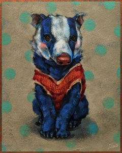 """SOLD """"On My Very Best Behaviour,"""" by Angie Rees 8 x 10 - acrylic $575 (unframed panel with 1 1/2"""" edges)"""