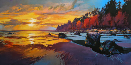 """Semiahmoo Bay Sunset,"" by Mike Svob 30 x 60 - acrylic $10,325 Unframed"