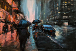 """SOLD """"Urban Moment,"""" by William Liao 24 x 36 - acrylic $2920 (thick canvas wrap)"""
