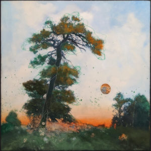 """SOLD """"Flower Moon,"""" by Nikol Haskova 24 x 24 – mixed media, high-gloss finish $2200 (unframed panel with thick edges)"""