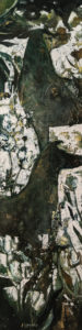 """SOLD """"Garden Panel with Dogs,"""" by Lee Caufield 12 x 48 - acrylic $1300 (thick canvas wrap)"""