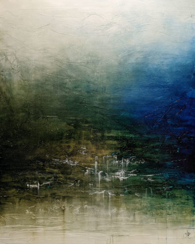 """SOLD """"Replenished,"""" by Laura Harris 48 x 60 - acrylic $10,500 (thick canvas wrap)"""