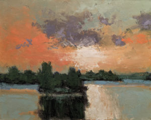 """""""Soleil couchant sur le lac No. 2,"""" by Robert P. Roy (Sun Setting Over the Lake No. 2) 24 x 30 - oil $1600 Unframed"""