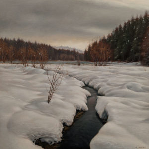 """SOLD """"Valley Stream in January,"""" by Ray Ward 16 x 16 - oil $1790 Unframed"""