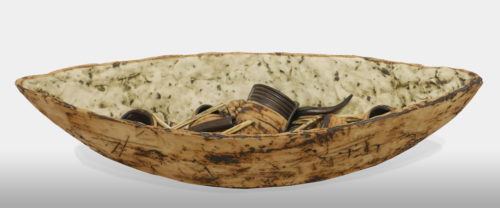 """Boat and Cargo (LR-267) by Laurie Rolland hand-built ceramic - 17"""" (L) $550"""