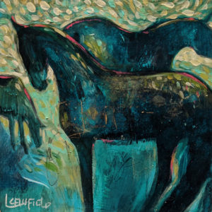 """SOLD """"Blessed Are the Broodmares,"""" by Lee Caufield 6 x 6 - acrylic $350 (unframed panel with 1 1/2"""" edges)"""