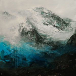 """""""Fog and Snow,"""" by William Liao 36 x 36 - acrylic $4300 (thick canvas wrap)"""