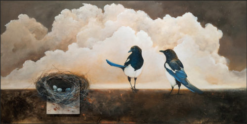 """""""Heaven and Amber,"""" by Nikol Haskova 30 x 60 - acrylic $5400 (unframed panel with thick edges)"""