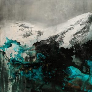 """""""Mountains of the Mind,"""" by William Liao 36 x 36 - acrylic $4300 (thick canvas wrap)"""