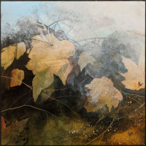 """SOLD """"Pond Song I,"""" by Nikol Haskova 12 x 12 - acrylic $880 (unframed panel with thick edges)"""