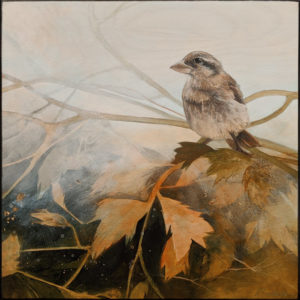 """SOLD """"Pond Song II,"""" by Nikol Haskova 12 x 12 - acrylic $880 (unframed panel with thick edges)"""