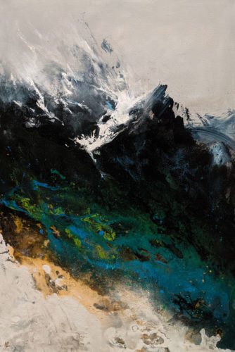 """SOLD """"Spring Mountain,"""" by William Liao 24 x 36 - acrylic $2920 (thick canvas wrap)"""