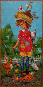 """""""The Art of Gentle Persuasion,"""" by Angie Rees 8 x 16 - acrylic $825 (unframed panel with 1 1/2"""" edges)"""
