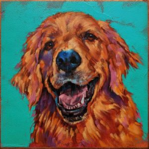 """""""Atta Boy,"""" by Angie Rees 10 x 10 - acrylic $675 (unframed panel with 1 1/2"""" edges)"""
