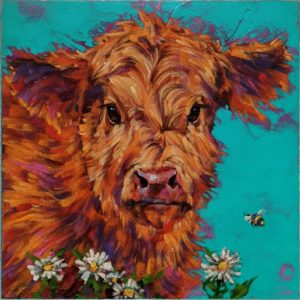 """""""Beatrix and Buzz,"""" by Angie Rees 12 x 12 - acrylic $825 (unframed panel with 1 1/2"""" edges)"""