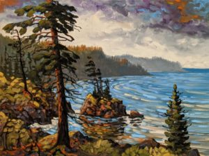 """SOLD """"Breezy Bay, Pacific Rim,"""" by Rod Charlesworth 18 x 24 - oil $2100 Unframed"""