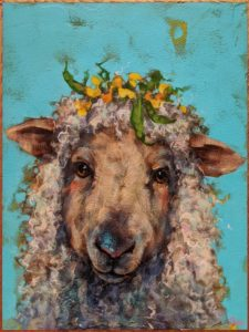 """SOLD """"Butter Bean,"""" by Angie Rees 9 x 12 - acrylic $650 (unframed panel with 1 1/2"""" edges)"""