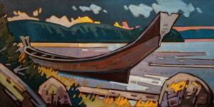 """SOLD """"A Long Journey - Haida Dugout,"""" by Cameron Bird 30 x 60 - oil $5600 (thick canvas wrap)"""