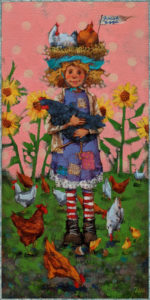 """SOLD """"Pecking Order,"""" by Angie Rees 8 x 16 - acrylic $825 (unframed panel with 1 1/2"""" edges)"""
