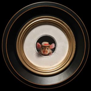 """SOLD """"Petite Souris 492″ (Little Mouse 492) by Marina Dieul 4"""" diameter plus frame (shown) – oil USD $1000 Framed (approx. $1250 CAD Framed)"""