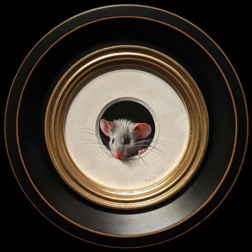 """""""Petite Souris 493″ (Little Mouse 493) by Marina Dieul 4"""" diameter plus frame (shown) – oil USD $1000 Framed (approx. $1250 CAD Framed)"""