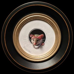 """SOLD """"Petite Souris 494″ (Little Mouse 494) by Marina Dieul 4"""" diameter plus frame (shown) – oil USD $1000 Framed (approx. $1250 CAD Framed)"""