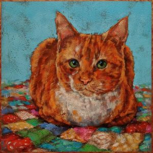 """SOLD """"Pumpkin Spice Loaf,"""" by Angie Rees 10 x 10 - acrylic $675 (unframed panel with 1 1/2"""" edges)"""