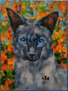 """""""Purrfectly Poised,"""" by Angie Rees 6 x 8 - acrylic $300 (unframed panel with 1 1/2"""" edges)"""