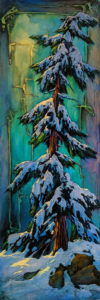 """SOLD """"Staying Cool,"""" by David Langevin 20 x 60 - acrylic $4150 (artwork continues onto edges of wide canvas wrap)"""