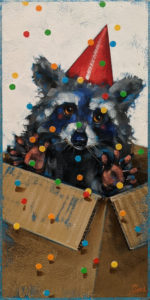 """""""Surprise Package,"""" by Angie Rees 6 x 12 - acrylic $450 (unframed panel with 1 1/2"""" edges)"""