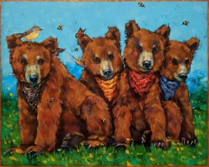 """""""The Teddy Bears' Picnic,"""" by Angie Rees 16 x 20 - acrylic $1475 (unframed panel with 1 1/2"""" edges)"""
