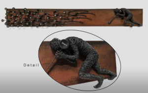 """""""Shift,"""" by Janis Woode Plate steel, wrapped copper wire, vintage typewriter parts 30 1/2"""" (L) x 4"""" (H) x 3"""" (W) $3300"""