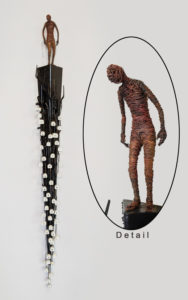 """""""The Letter,"""" by Janis Woode Plate steel, wrapped copper wire, vintage typewriter keys 40"""" (L) x 5"""" (W) x 4"""" (H) $3300"""